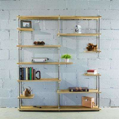 Nashville Industrial Mid-Century, Natural 64 in. Large Open Etagere 11-Shelf Pipe Bookcase-Metal-Reclaimed Wood