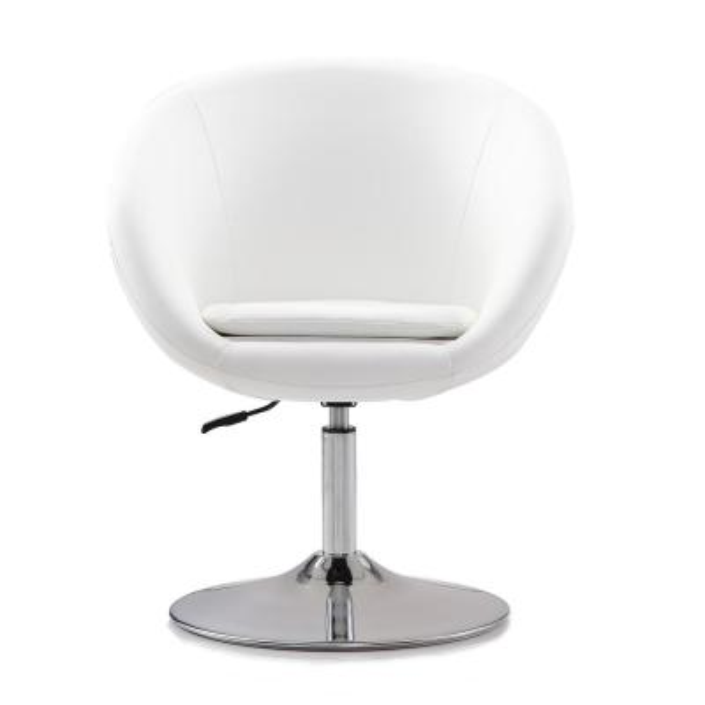 White Leatherette Hopper Swivel Adjustable Height Chair