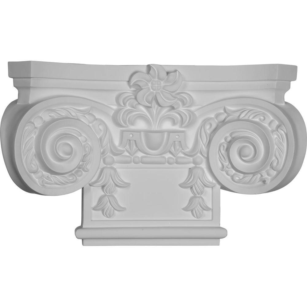 Ekena Millwork 16-7/8 in. x 4 in. x 10-1/4 in. Primed Polyurethane Small Empire Capital with Necking