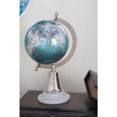 11 in. x 6 in. Modern Decorative Globe in Cyan and Silver