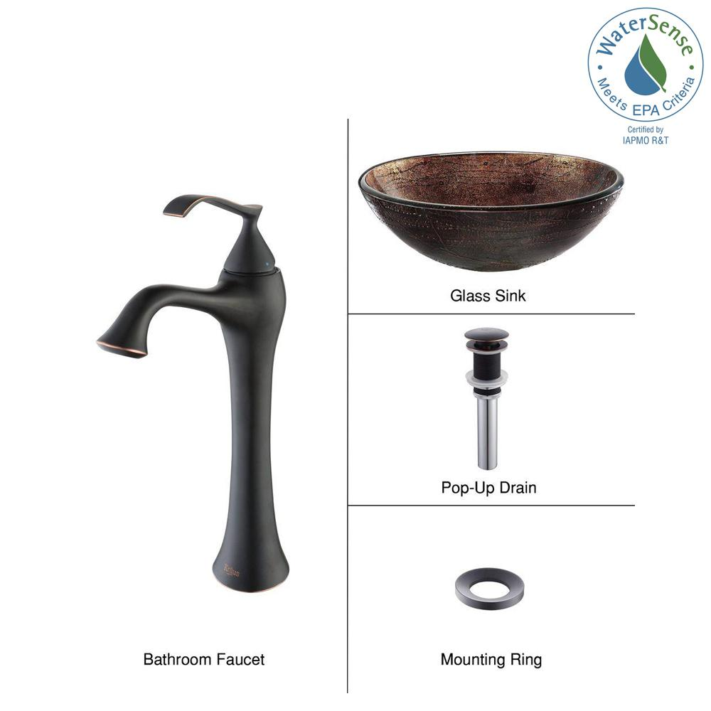 Kraus Illusion Glass Vessel Sink In Brown With Ventus Faucet Oil Rubbed Bronze