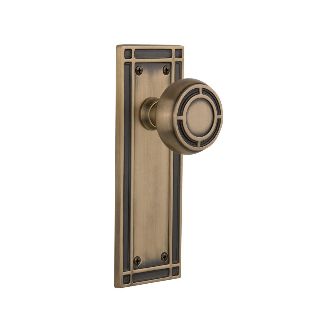 Mission Plate 2-3/8 in. Backset Antique Brass Passage Hall/Closet Mission Door