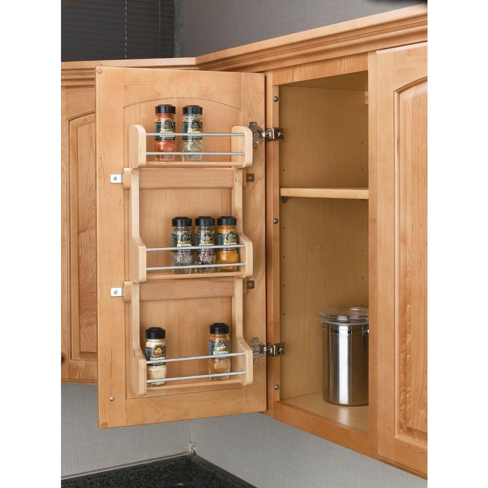 3 Shelf Kitchen Cabinet Door Mount Organizer Storage E Rack Wood Pantry