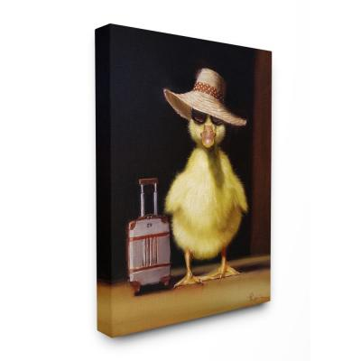 """30 in. x 40 in. """"Little Vacation Chick Ready to Travel Painting"""" by Lucia Heffernan Canvas Wall Art"""