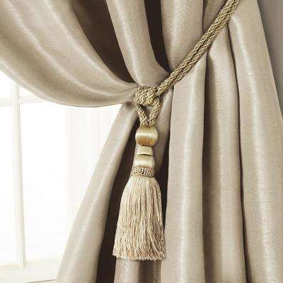Amelia 24 in. Tassel Tieback Rope Cord Window Curtain Accessories in Ivory