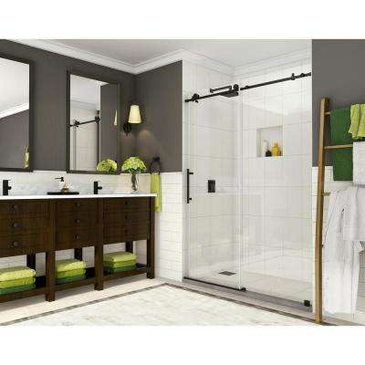 Coraline 44 in. to 48 in. x 76 in. Frameless Sliding Shower Door in Matte Black