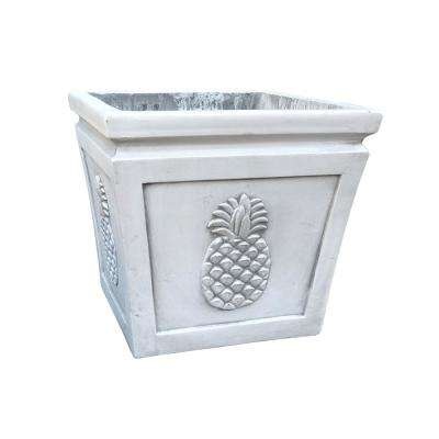 10.24 in. x 10.24 in. x 8.66 in. Light Grey Lightweight Concrete Pineapple Embossed Flared Square Small Planter