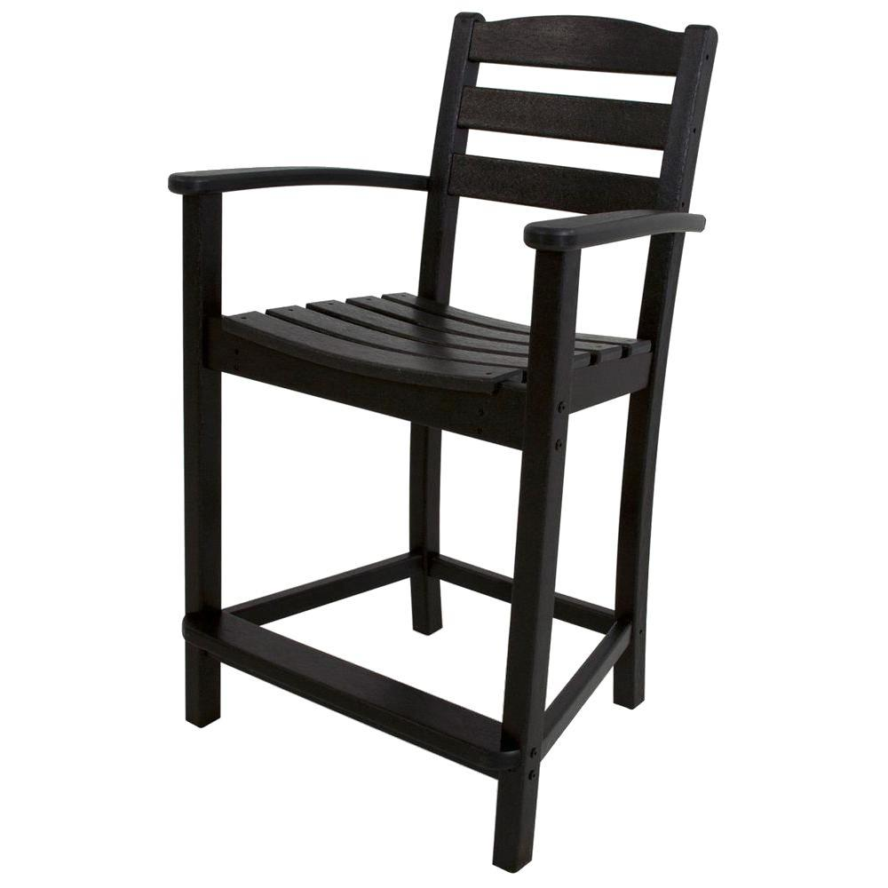 La Casa Cafe Black Plastic Outdoor Patio Counter Arm Chair