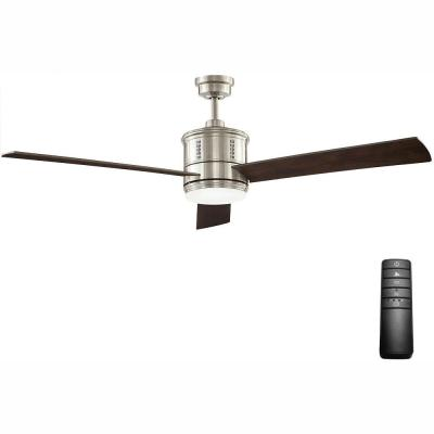 Gamali 60 in. LED Indoor Brushed Nickel Ceiling Fan with Light Kit and Remote Control