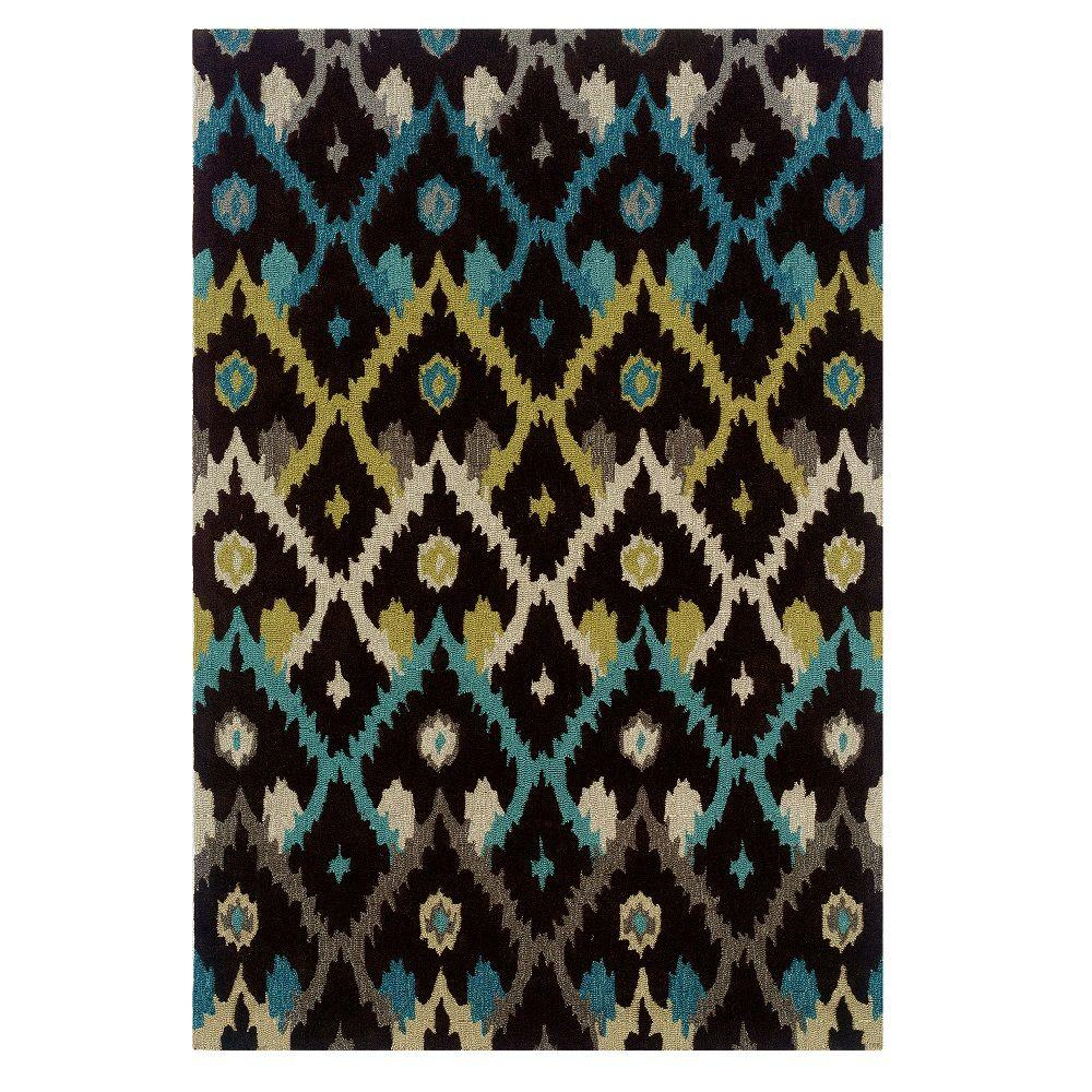 Linon Trio Collection Black and Teal 5 ft. x 7 ft. Indoor...
