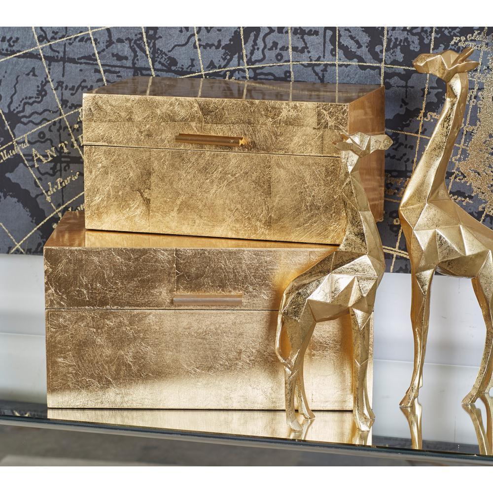 Rectangular Gold Wooden Boxes (Set of 2)