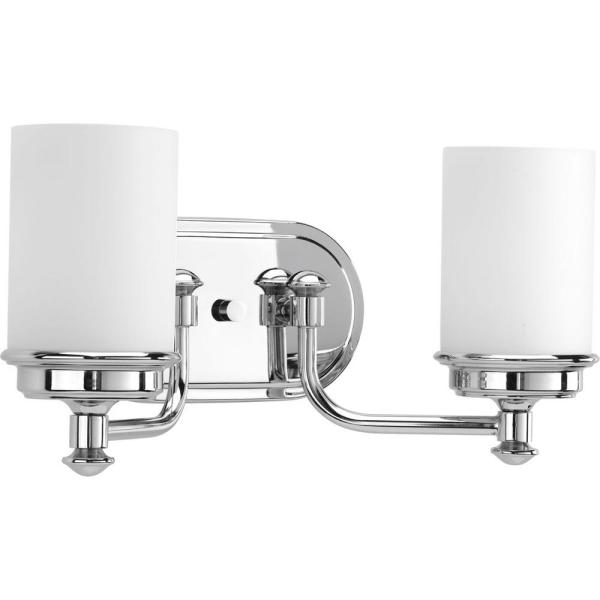 Glide Collection 2-Light Polished Chrome Bathroom Vanity Light with Glass Shades