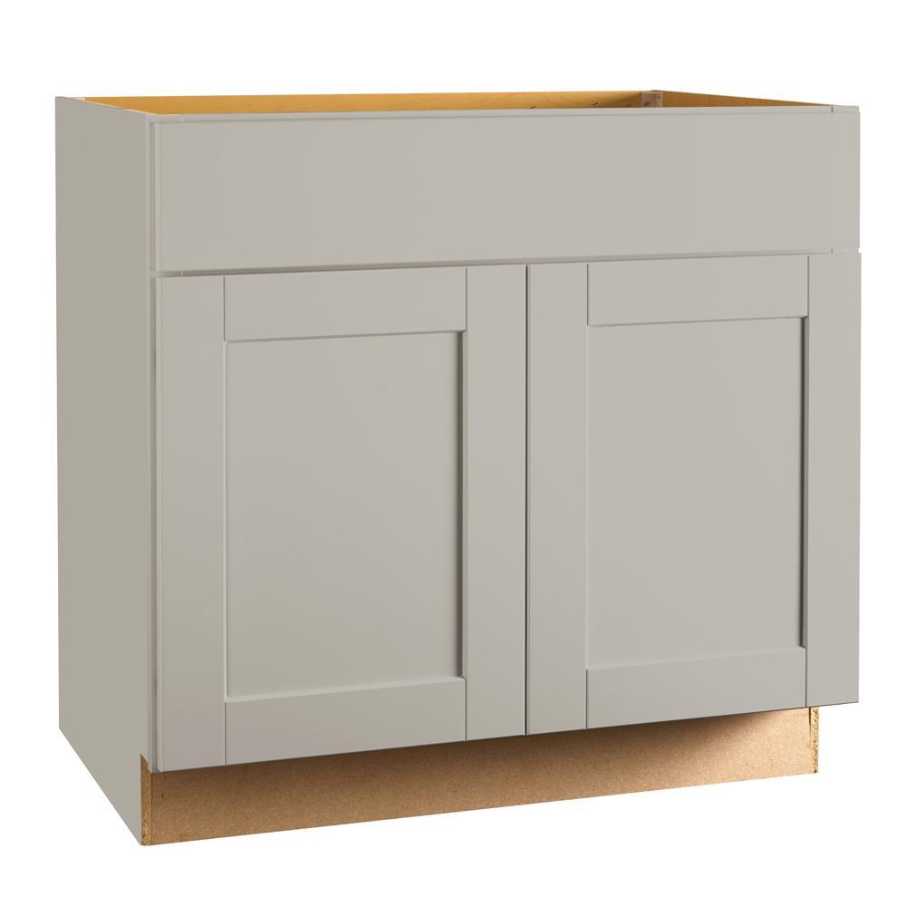 Hampton Bay Shaker Assembled 36 x 34.5 x 21 in. Bathroom Vanity Base  Cabinet in Dove Gray