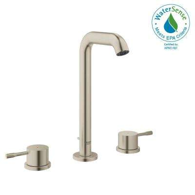 Essence New 8 in. Widespread 2-Handle 1.2 GPM High-Arc Bathroom Faucet in Brushed Nickel Infinity
