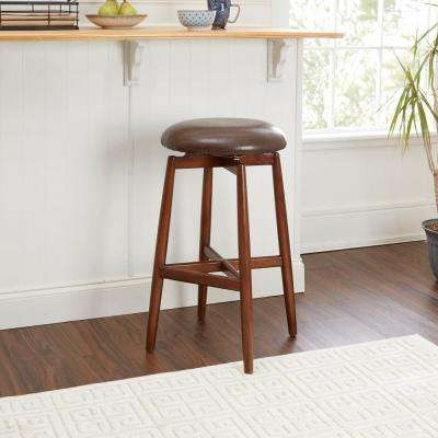 Dover 29 in. Brown Upholstered Saddle Bar Stool