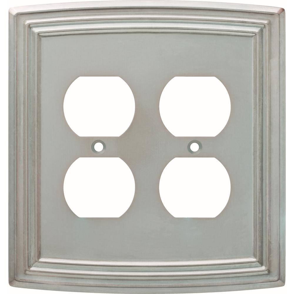 Liberty Emery Decorative Double Duplex Outlet Cover Satin Nickel