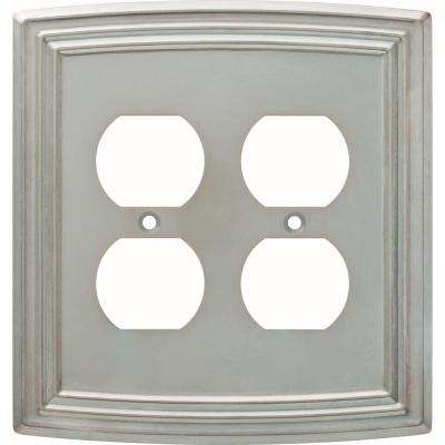 Emery Decorative Double Duplex Outlet Cover, Satin Nickel