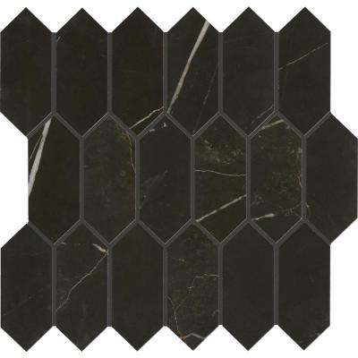 Marble View Black Marble Matte 12 in. x 12 in. x 9.5 mm Colorbody Porcelain Mosaic Tile