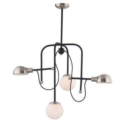 Mingle 21 in. Wide 4-Light Black / Satin Nickel Chandelier with White Shade