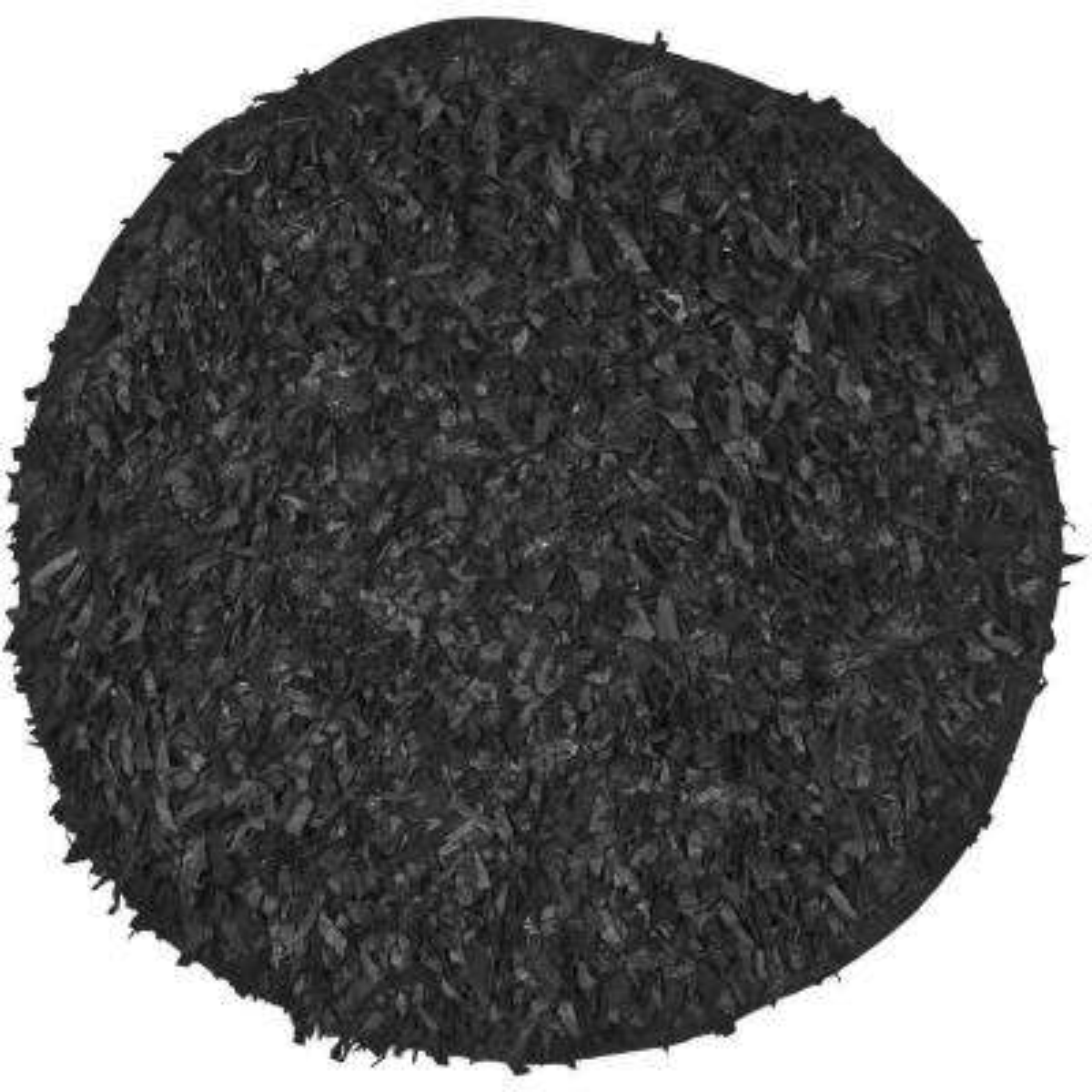 Leather Shag Black 6 ft. x 6 ft. Round Area Rug