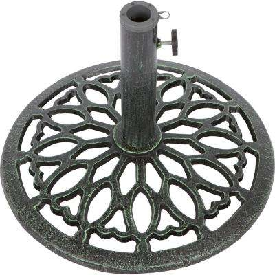 17.5 in. Cast Iron Patio Umbrella Base (Green)