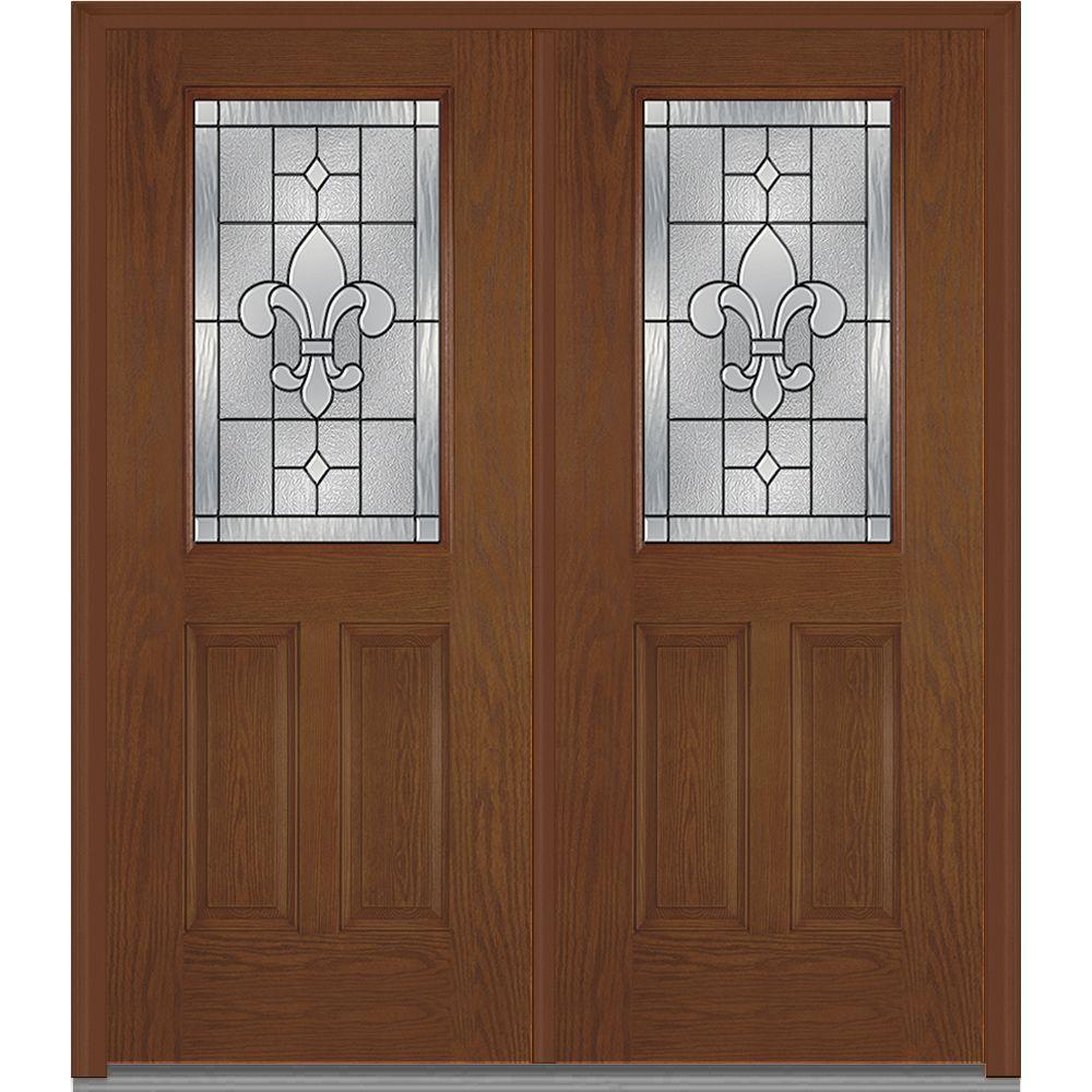 Medium Brown Wood - Double Door - Front Doors - Exterior Doors ...