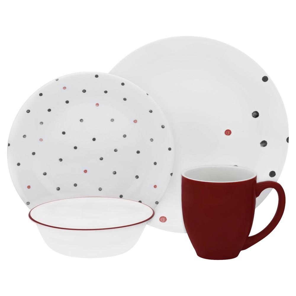 Corelle Vive 16-Piece Red and Black Polka Dottie Dinnerware Set ...