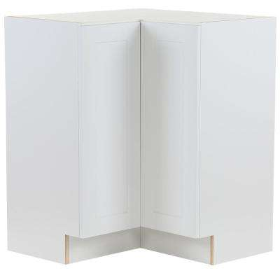 Cambridge Shaker Assembled 27.6x34.5x27.6 in. Lazy Susan Corner Base Cabinet with 2 Soft Close Doors in White