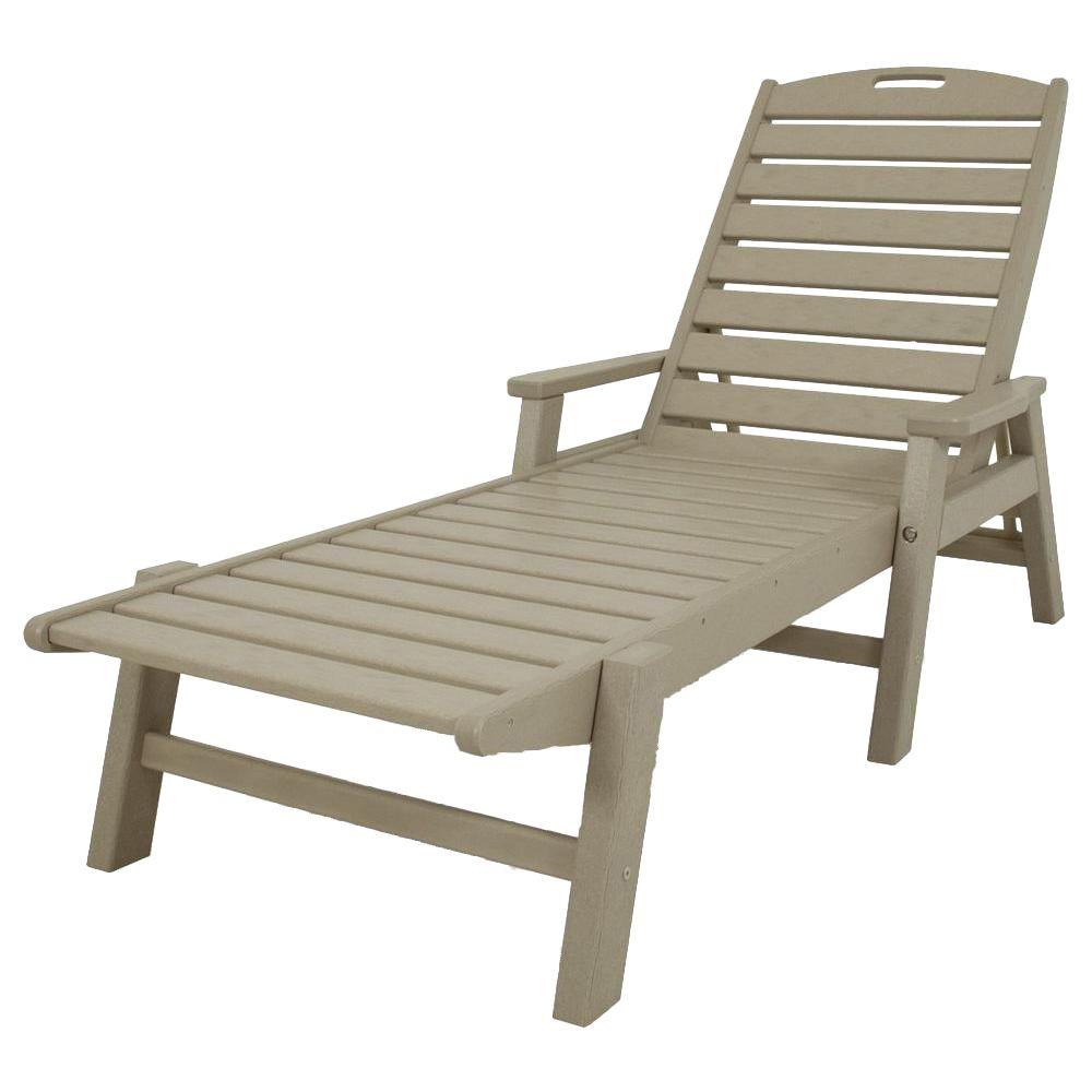 Nautical Sand Stackable Plastic Outdoor Patio Chaise Lounge