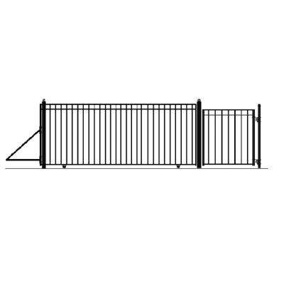 Madrid Style 16 ft. x 6 ft. Black Steel Single Slide Driveway Fence Gate
