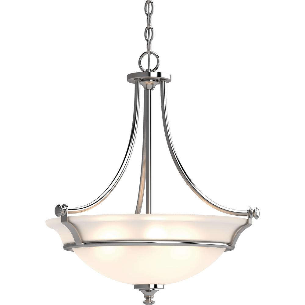 Volume Lighting Tes 3 Light Chrome Indoor Hanging Pendant With Frosted Gl Bowl