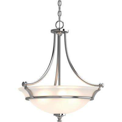 Tes 3-Light Chrome Indoor Hanging Pendant with Frosted Glass Bowl