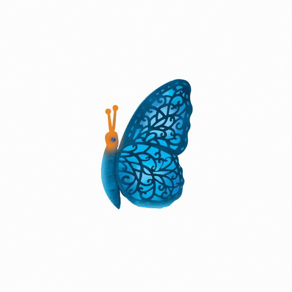 null 12 in. Blue Solar Crazy Critter Butterfly with Blue Light