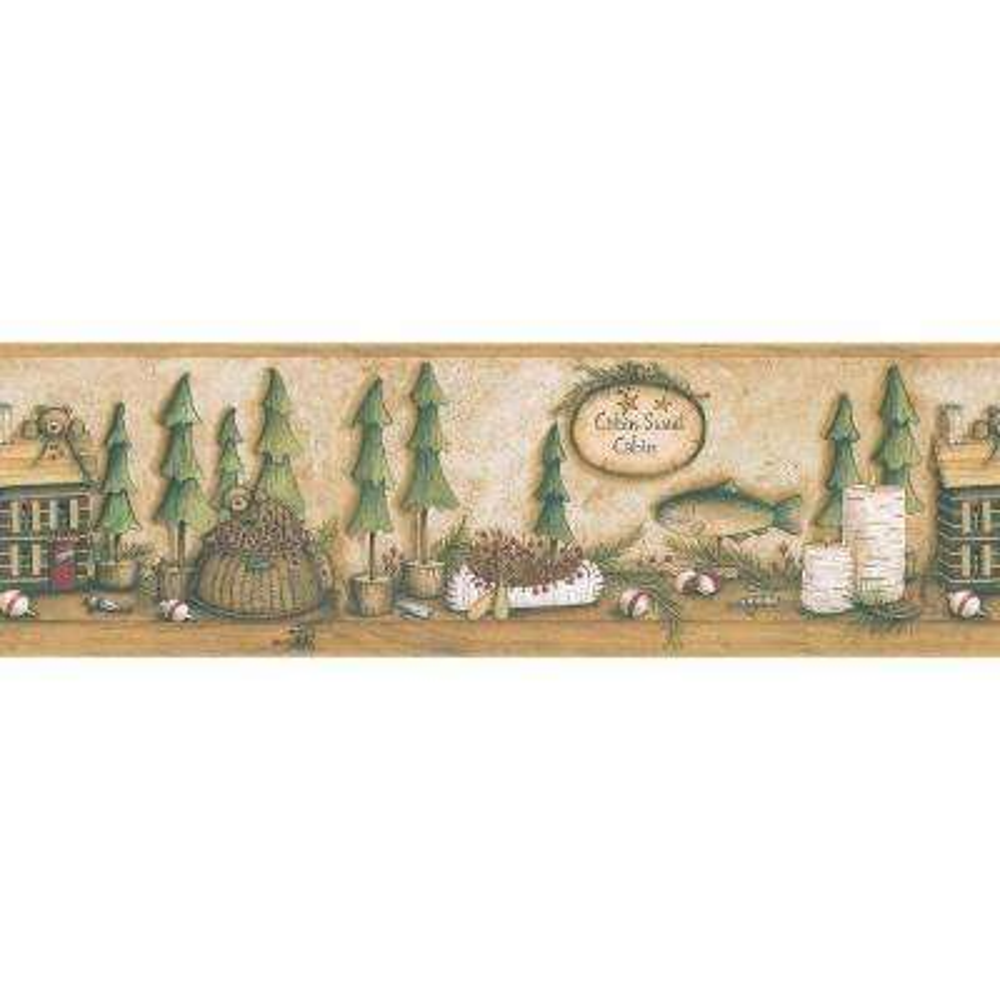 Northwoods Lodge Lake Motif Wallpaper Border