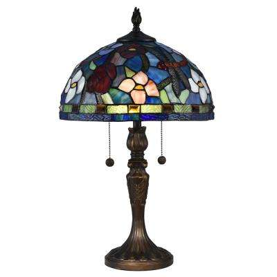 2-Light 23 in. Wesport Antique Bronze Table Lamp with Tiffany Art Glass Shade