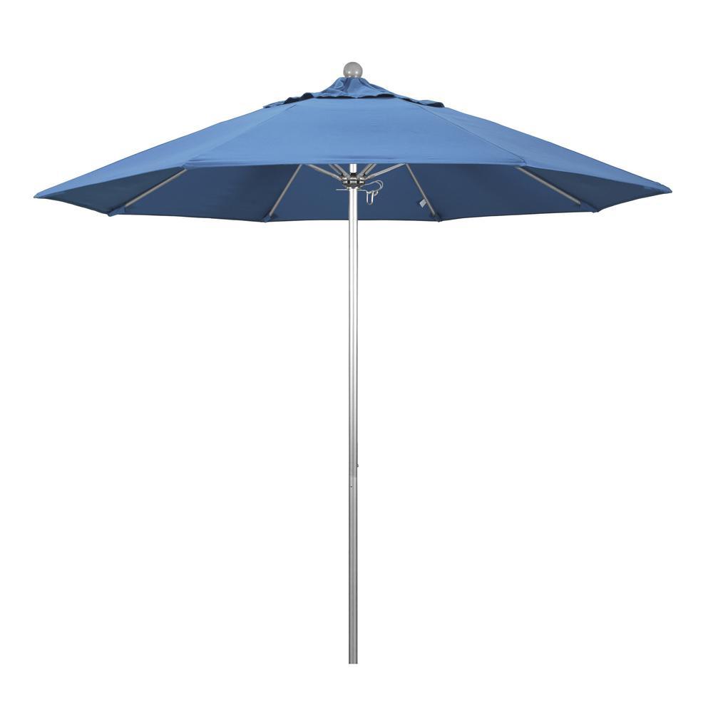 9 ft. Fiberglass Market Pulley Open S Anodized Patio Umbrella in Frost Blue Olefin