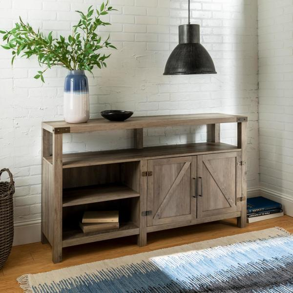 58 in. Gray Wash Wood TV Stand 65 in. with Adjustable Shelves