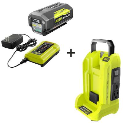 300-Watt Powered Inverter for 40-Volt Battery with 4 Ah Battery and Charger