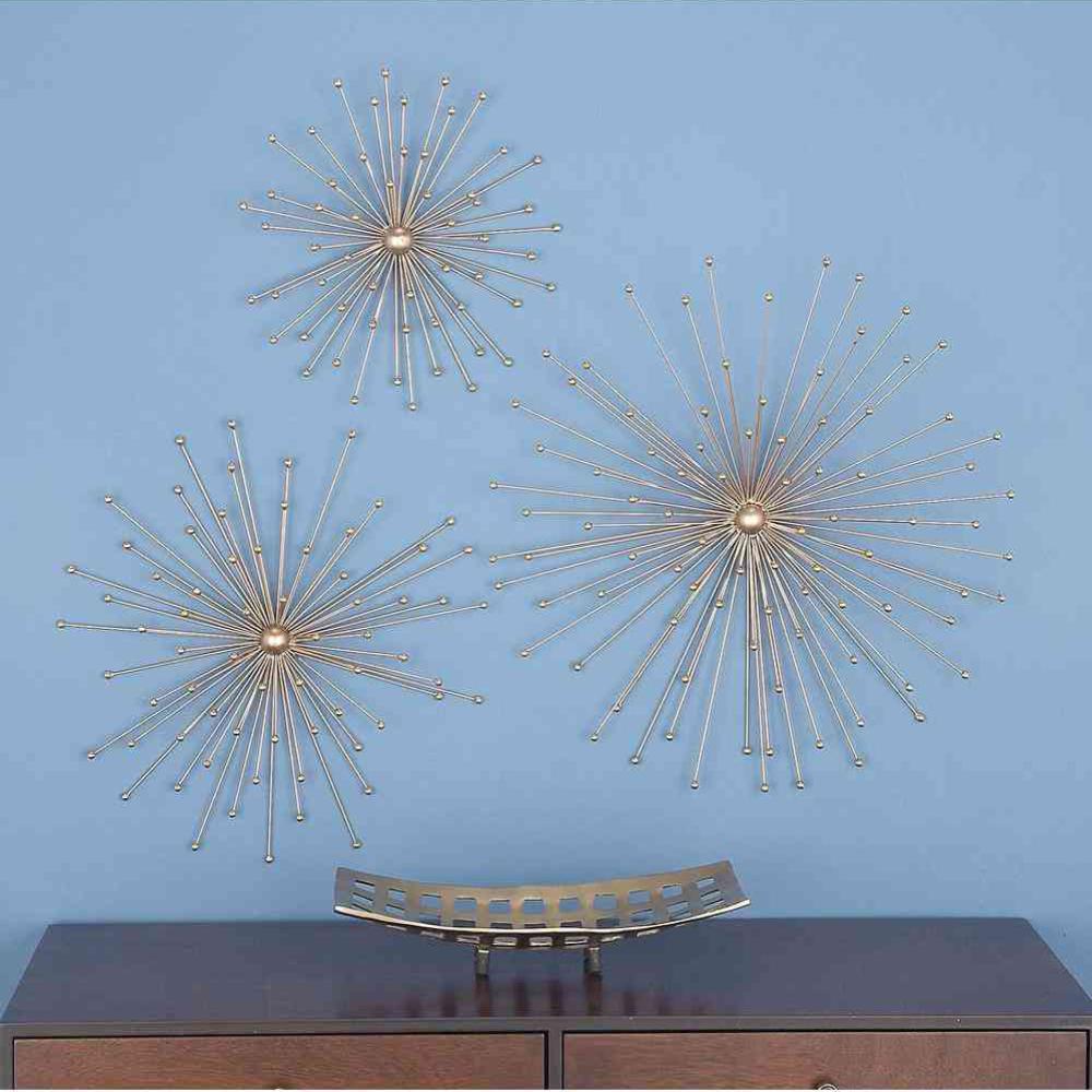 Modern Gold Iron Star Sculptures (Set of 3)