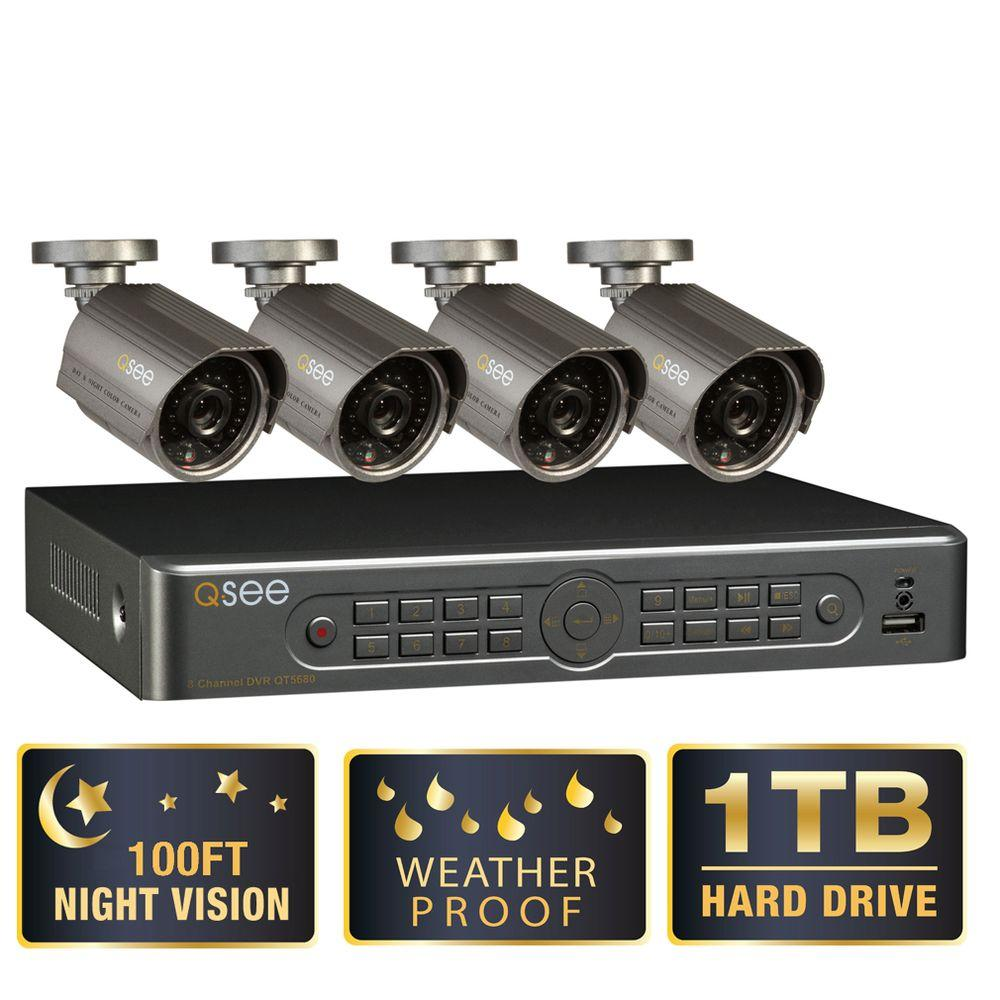 Q-SEE Premium Series 8-Channel 1TB HDD Surveillance System with (4) 700 TVL Cameras and 100 ft. Night Vision-DISCONTINUED