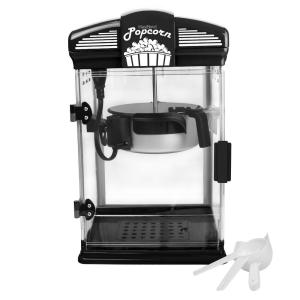 4-Quart Black Hot Oil Movie Theater Style Popcorn Popper Machine with Nonstick Kettle Includes Measuring Cup and Scoop