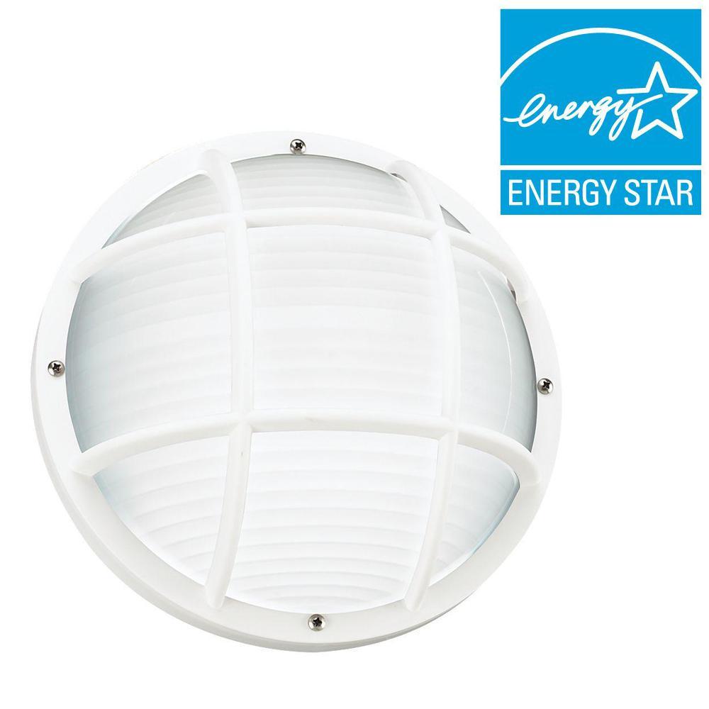 Bayside White 1-Light Bulkhead with LED Bulb