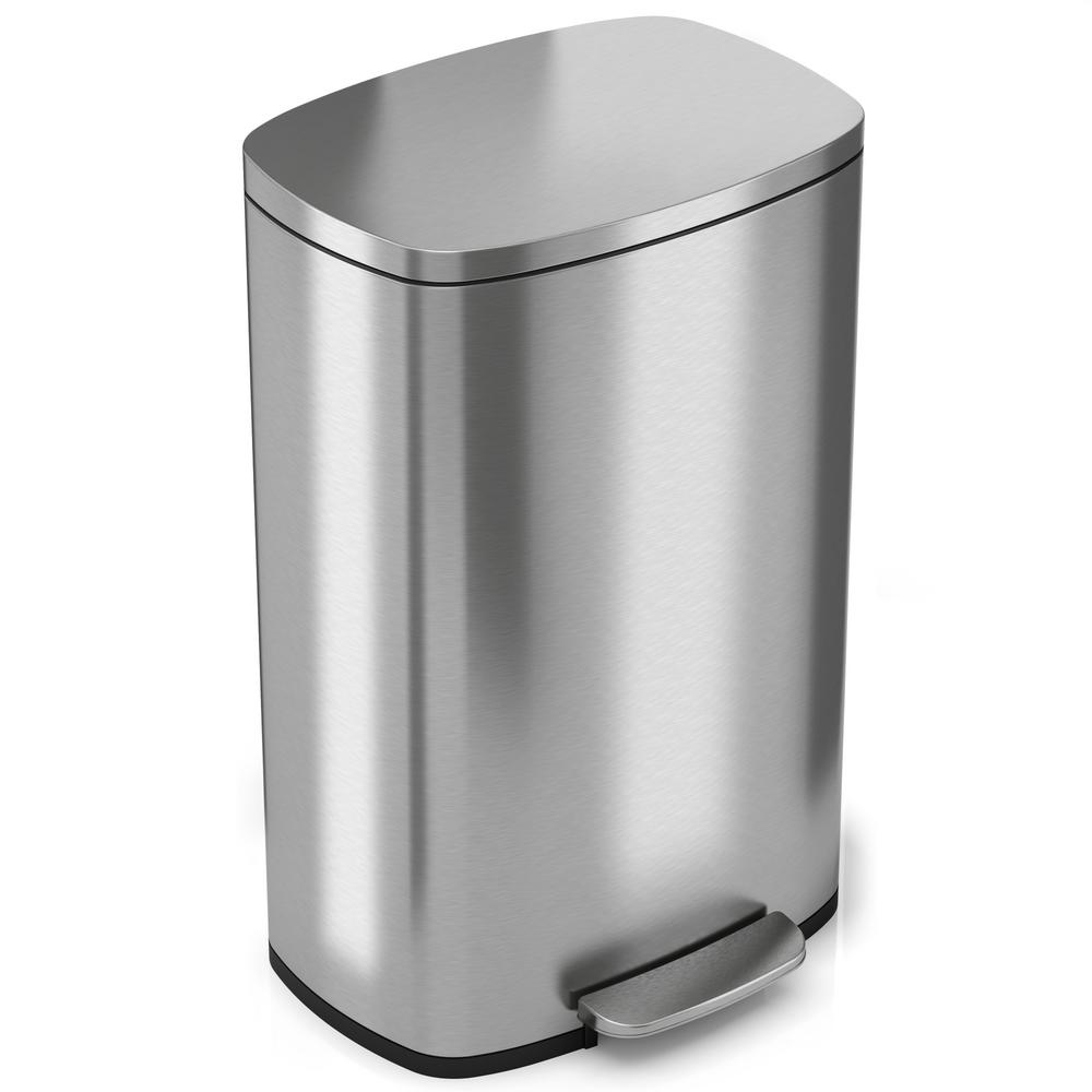 Itouchless Softstep 13 2 Gal Stainless Steel Step Kitchen Trash Can Pc13rss The Home Depot