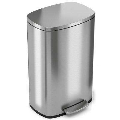 SoftStep 13.2 Gal. Stainless Steel Step Trash Can with Odor Filter and Inner Bucket for Office and Kitchen