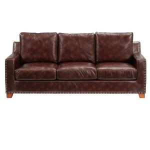 5 Home Decorators Collection Garrison Brown Leather Sofa