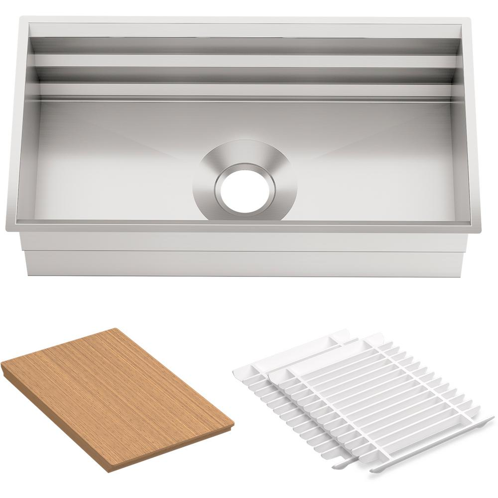 KOHLER Prolific Undermount Stainless Steel 33 in. Single Bowl Kitchen Sink  Kit with Accessories