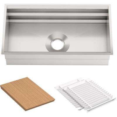 Prolific Workstation Undermount Stainless Steel 33 in. Single Bowl Kitchen Sink Kit with Accessories