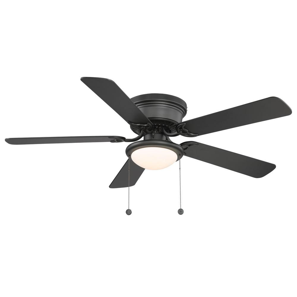 Hugger In LED Indoor Black Ceiling FanALLEDBK The Home Depot - Flush mount kitchen ceiling fans with lights