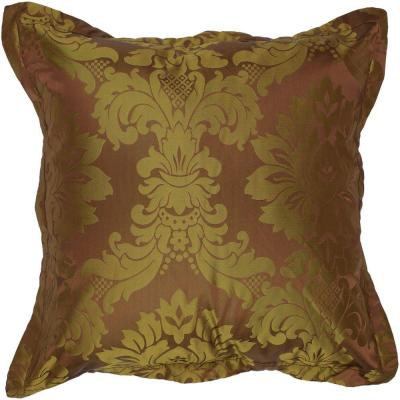 Damask Green Graphic Polyester 18 in. x 18 in. Throw Pillow