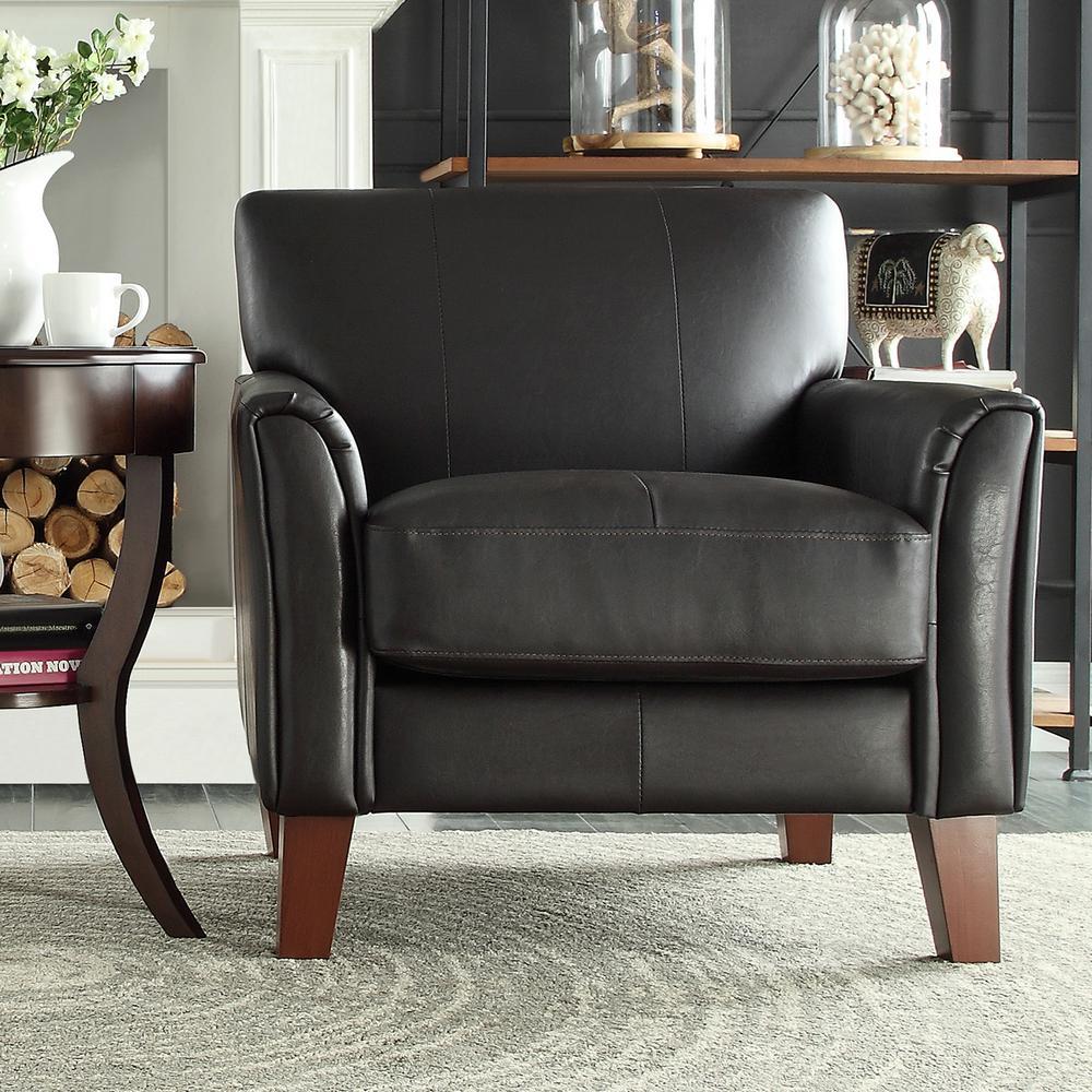 HomeSullivan Dark Brown Vinyl Arm Chair